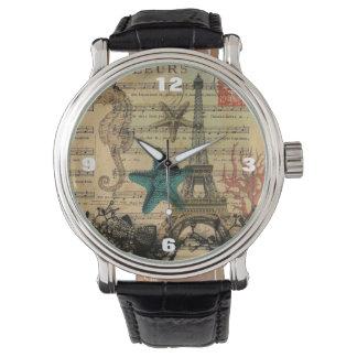 vintage paris eiffel tower beach seashell wrist watches