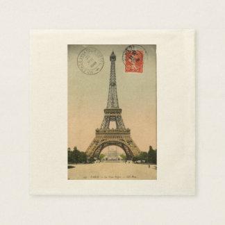 Vintage Paris Eiffel Tower Disposable Napkins