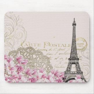 Vintage Paris Eiffel Tower Floral Art Illustration Mouse Pad