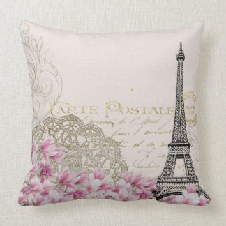 Vintage Paris Eiffel Tower Floral Art Illustration Throw Pillow