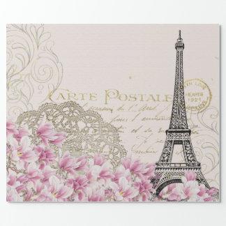 Vintage Paris Eiffel Tower Floral Art Illustration Wrapping Paper