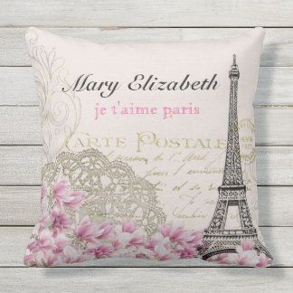 Vintage Paris Eiffel Tower Floral Lace Letter Outdoor Pillow