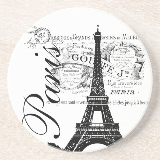 Vintage Paris Eiffel Tower Illustration Coaster