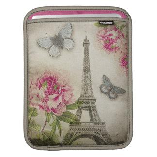 Vintage Paris Eiffel Tower Peonies iPad sleeve