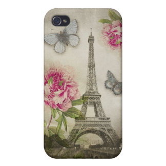 Vintage Paris Eiffel Tower Peonies iPhone4 case Cases For iPhone 4
