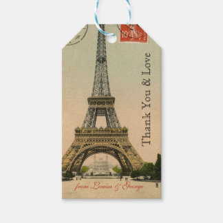 Vintage Paris Eiffel Tower Personalized Pack Of Gift Tags