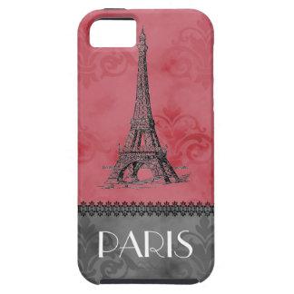 Vintage Paris Eiffel Tower Pink Gray Case