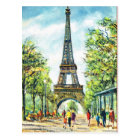Vintage Paris, Eiffel Tower Postcard