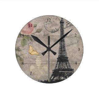 Vintage Paris Eiffel Tower Rose Butterfly Grunge Round Clock
