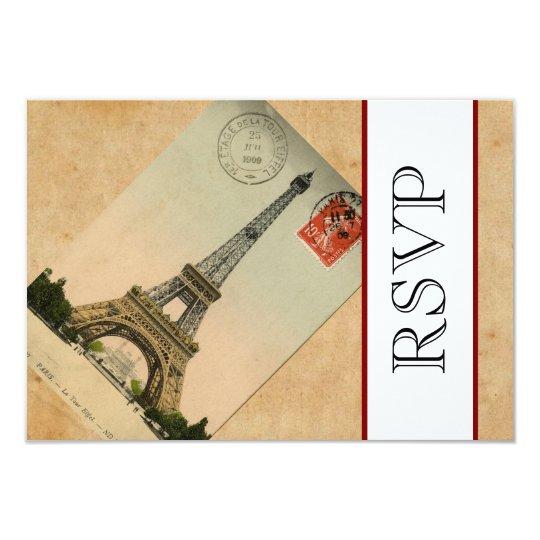 Vintage Paris Eiffel Tower RSVP Card
