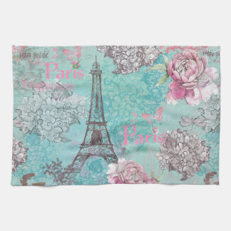 Vintage Paris-Eiffeltower- Flowers Bicycle Kitchen Towels