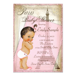 Vintage Paris Ethnic Baby Girl Shower Card