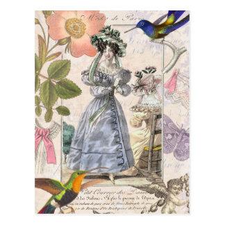 Vintage Paris Fashion Collage Oh La La! Postcard