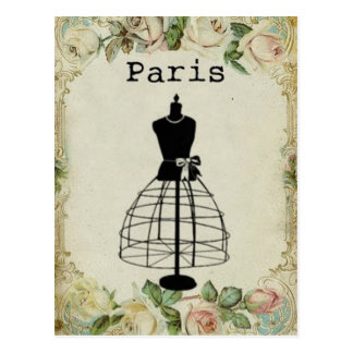 Vintage Paris Fashion Dress Form Postcard