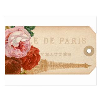 Vintage Paris Floral Package Tag Postcard