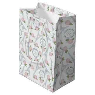 Vintage,paris,floral,pattern,trendy,girly,white, Medium Gift Bag