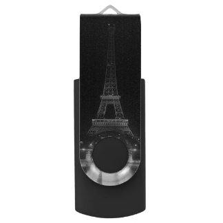 Vintage Paris Fontains Tower Eiffel night Swivel USB 3.0 Flash Drive