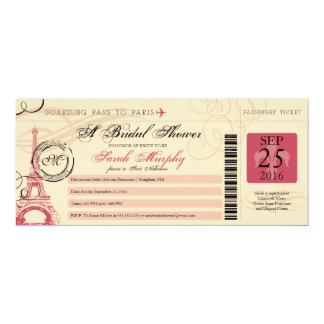 "Vintage Paris France Bridal Shower Boarding Pass 4"" X 9.25"" Invitation Card"