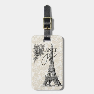 Vintage Paris France Eiffel Tower luggage tag