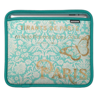 Vintage Paris Gold Design With Butterfly iPad Sleeve