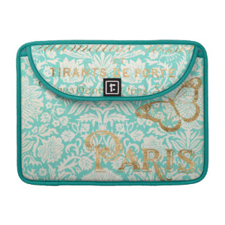 Vintage Paris Gold Design With Butterfly MacBook Pro Sleeve