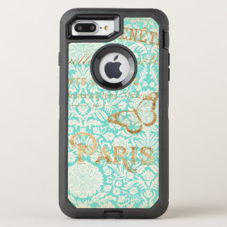 Vintage Paris Gold Design With Butterfly OtterBox Defender iPhone 8 Plus/7 Plus Case