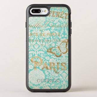 Vintage Paris Gold Design With Butterfly OtterBox Symmetry iPhone 8 Plus/7 Plus Case