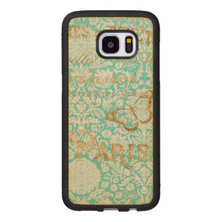 Vintage Paris Gold Design With Butterfly Wood Samsung Galaxy S7 Edge Case