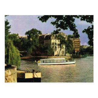 Vintage Paris,Ile de la citie, Bateau mouche Postcard
