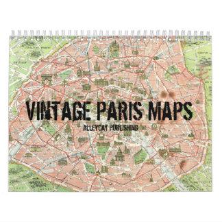 Vintage Paris Maps Calendar