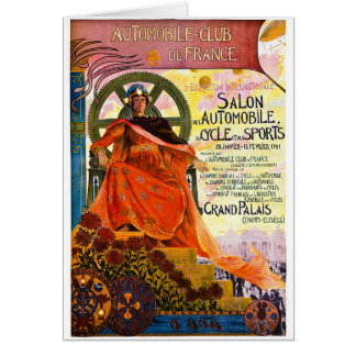 Vintage Paris Motor Show Advertisement Card