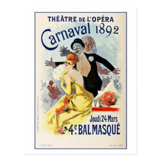 Vintage Paris Opera Theatre Carnival 1892 Postcard