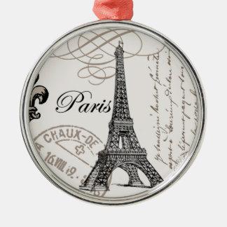 Vintage Paris...ornament Silver-Colored Round Ornament