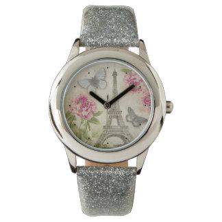 Vintage Paris Peonies Butterflies watch