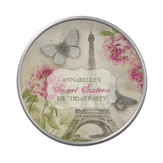Vintage Paris Peonies Sweet Sixteen candy tin