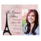 Vintage Paris Pink Black Sweet 15 Quinceanera Card