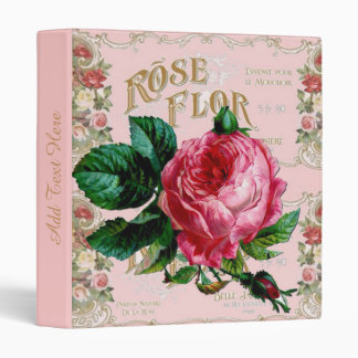 Vintage Paris Pink Rose Fashion, pretty floral art 3 Ring Binder