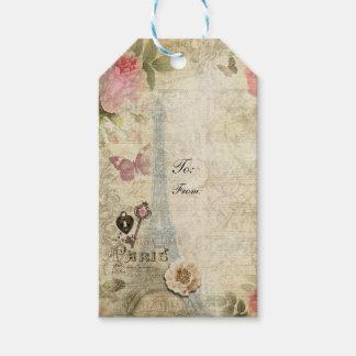 Vintage Paris Pink Roses Lock & Key Chic Wedding Gift Tags