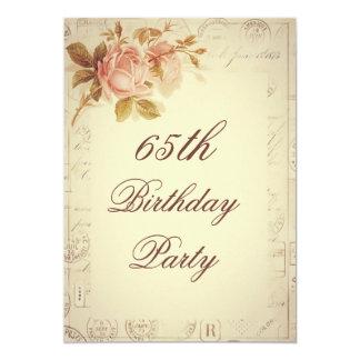 "Vintage Paris Postmarks Chic Roses 65th Birthday 5"" X 7"" Invitation Card"