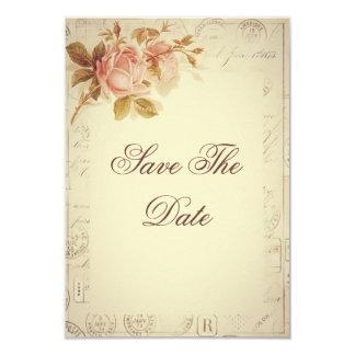 "Vintage Paris Postmarks Chic Roses 65th 3.5"" X 5"" Invitation Card"