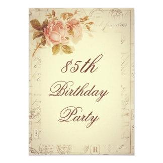 "Vintage Paris Postmarks Chic Roses 85th Birthday 5"" X 7"" Invitation Card"