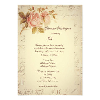 Vintage Paris Postmarks Chic Roses 85th Birthday Personalized Invitations