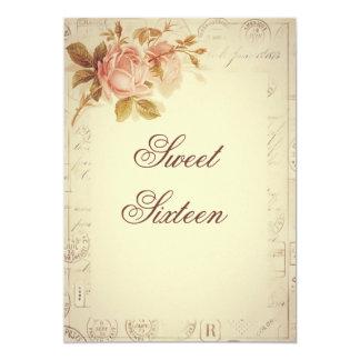 "Vintage Paris Postmarks Chic Roses Sweet 16 5"" X 7"" Invitation Card"