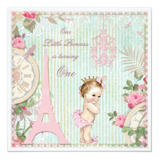 "Vintage Paris Princess Shabby Chic 1st Birthday 5.25"" Square Invitation Card"