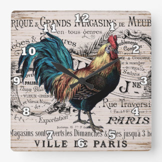 Vintage Paris Rooster Country wall decor Square Wall Clock