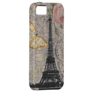 Vintage Paris Rose Butterfly Eiffel Tower Collage Case For The iPhone 5
