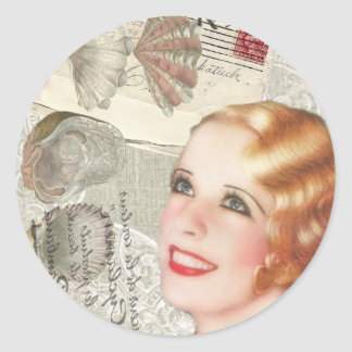 vintage paris shabby chic retro bridal shower classic round sticker