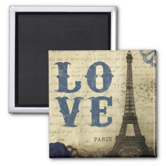 Vintage Paris Square Magnet