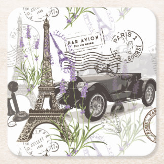 Vintage Paris Square Paper Coaster