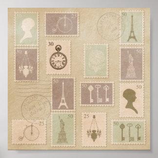 Vintage Paris Stamp Print